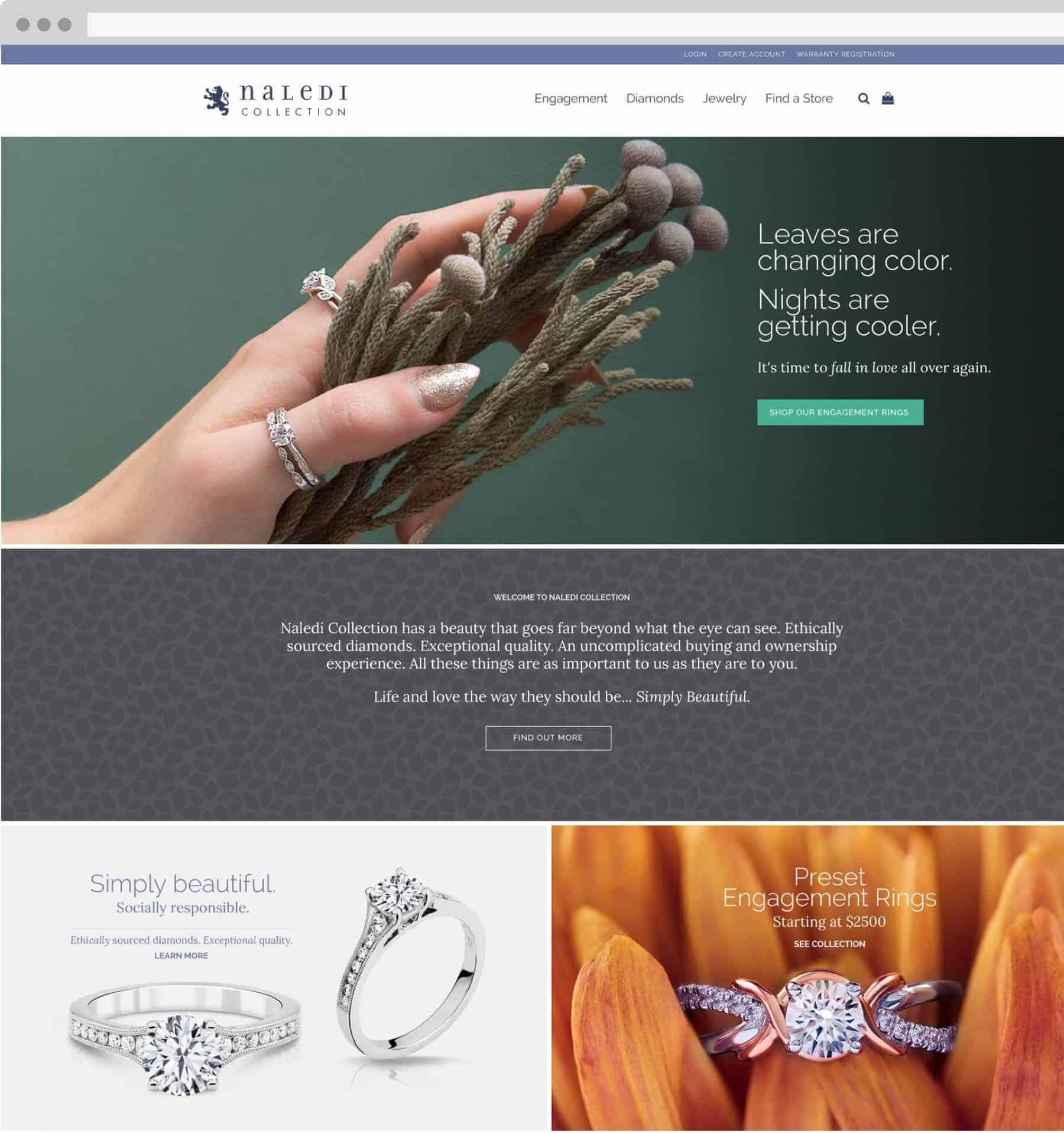 Naledi Collection page on desktop