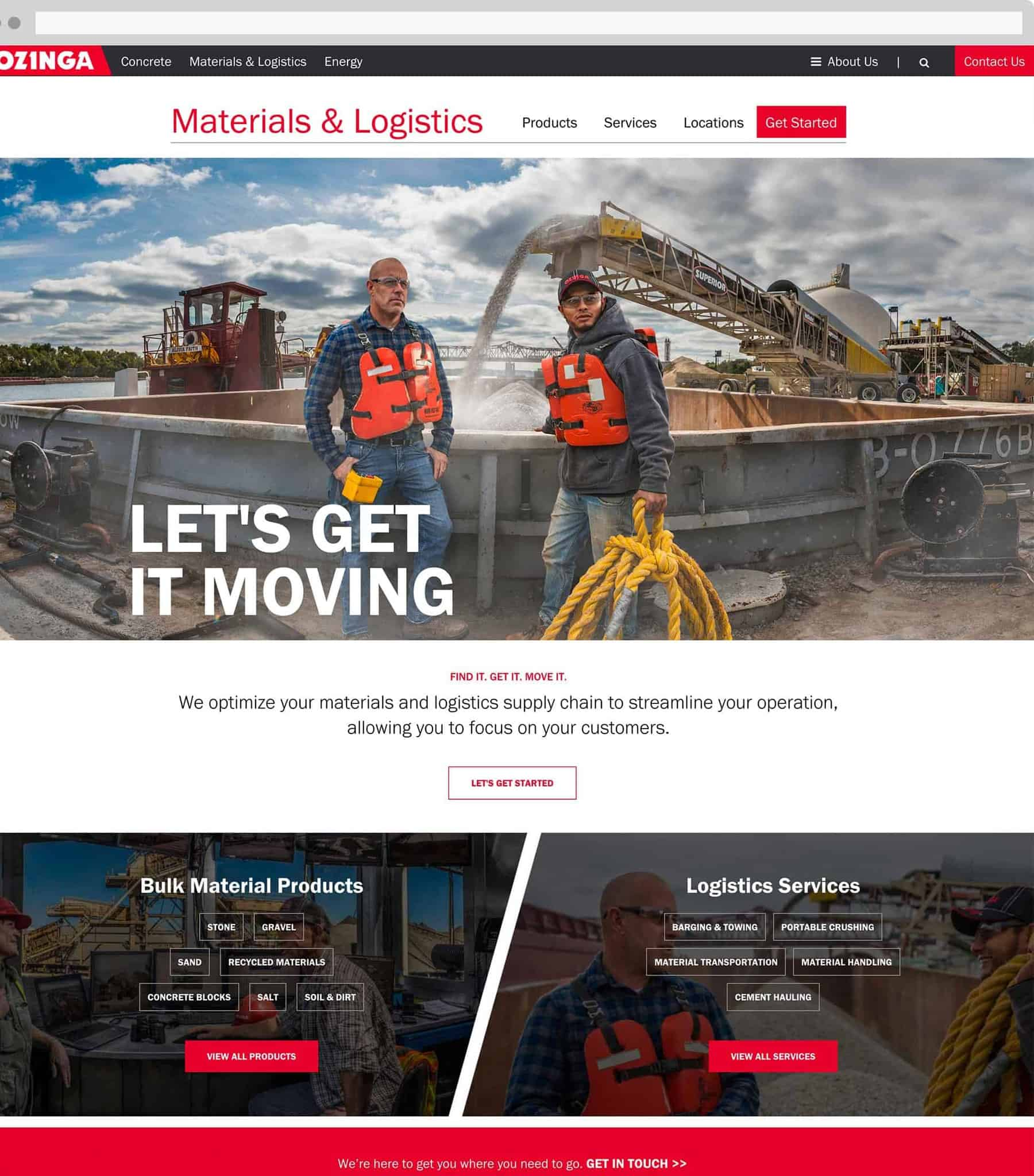 Ozinga Material and Logistics home page
