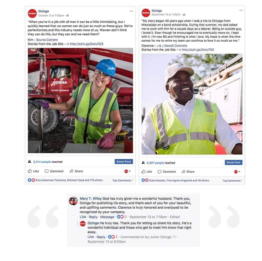 Ozinga social media screen captures