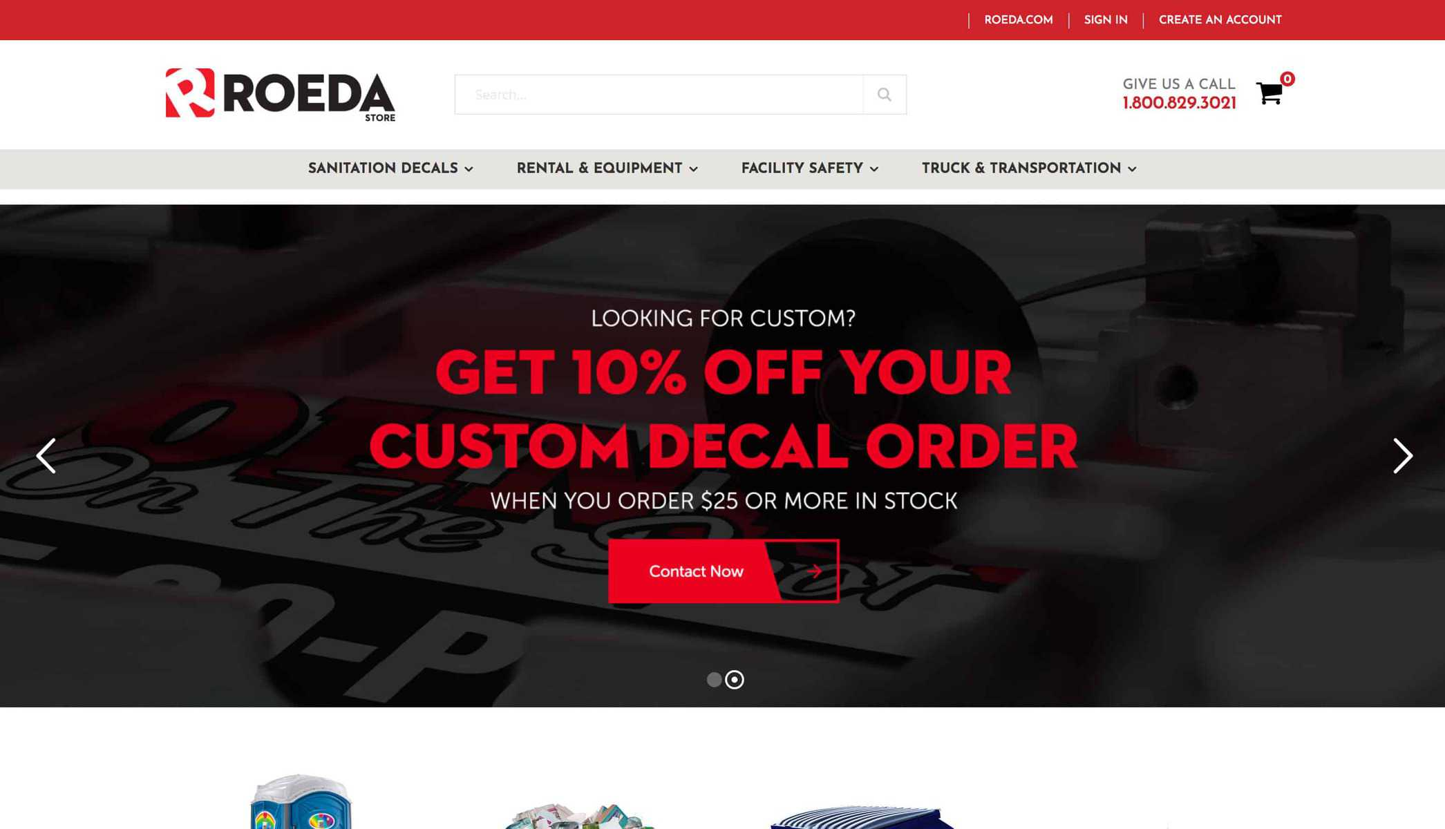 Roada website main page