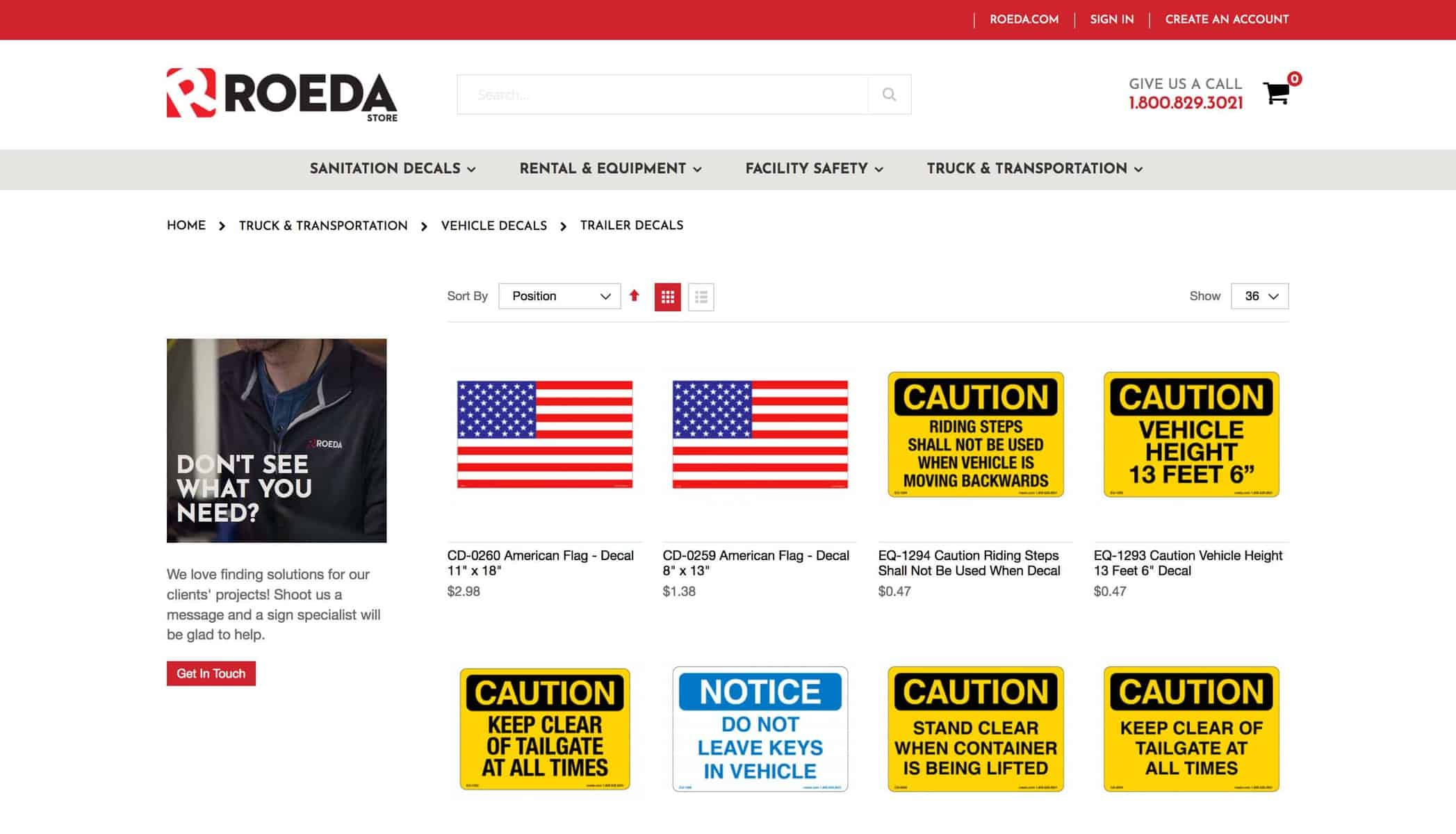 Roada website sales page